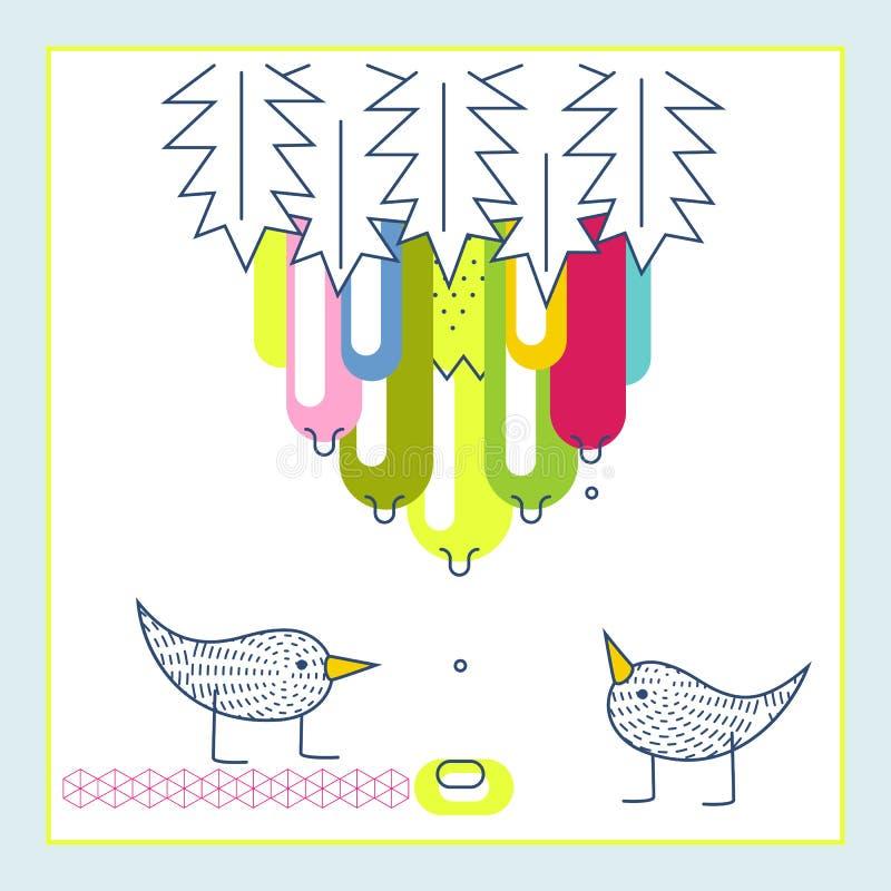 Gotas exóticas da água do fruto dos pássaros bonitos Cartão do convite da festa do bebé ilustração royalty free