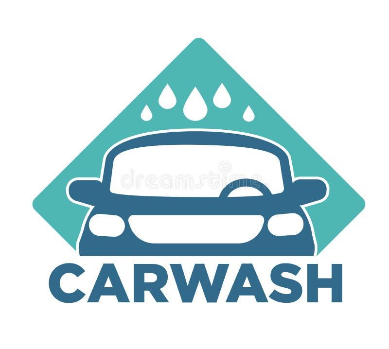 Gotas isoladas serviço de limpeza do veículo e da água do ícone do carro do Carwash ilustração royalty free