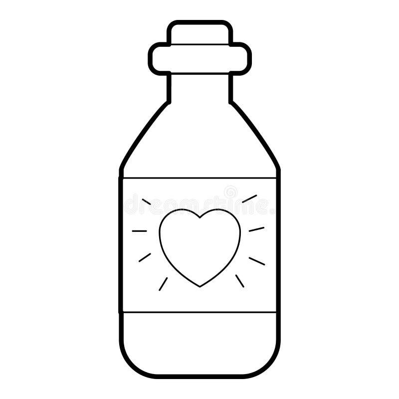 Gotas medicinais para o ícone do coração, estilo do esboço ilustração do vetor