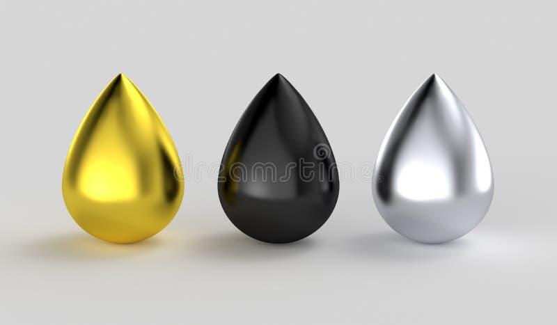 Gotas metálicas de prata pretas da tinta do ouro ilustração stock