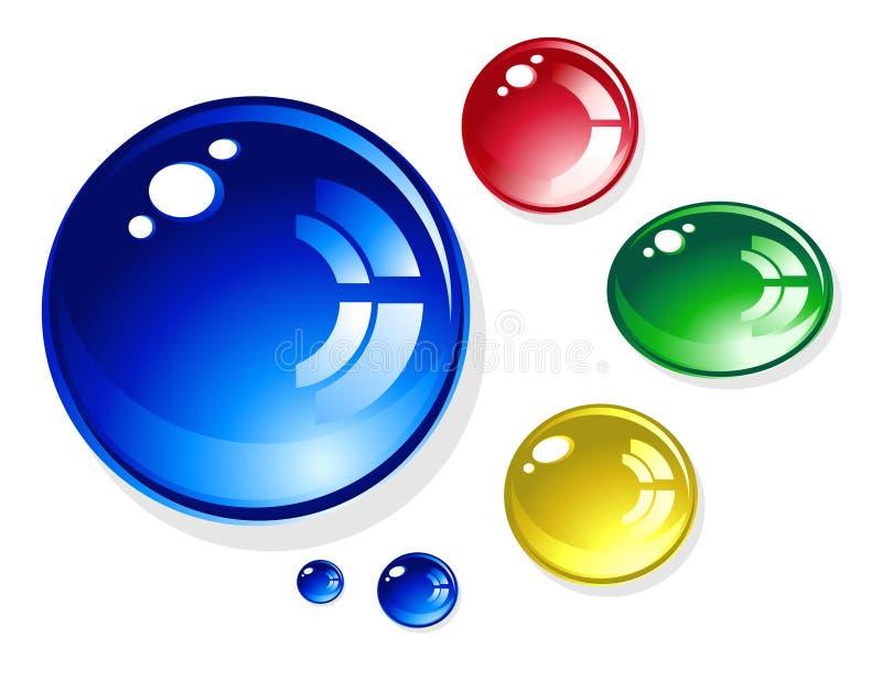 Gotas redondas brilhantes coloridas da água no branco ilustração royalty free