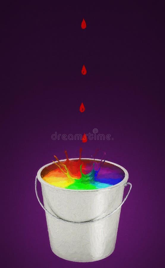 Gotas rojas cayendo en un cubo de pintura libre illustration