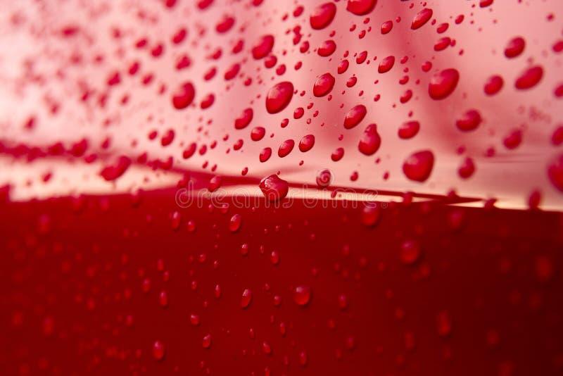 Gotas rojas del agua fotos de archivo