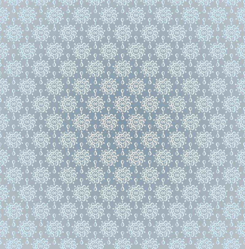 Gotas sem emenda da chuva da prata da luz do teste padrão ilustração do vetor