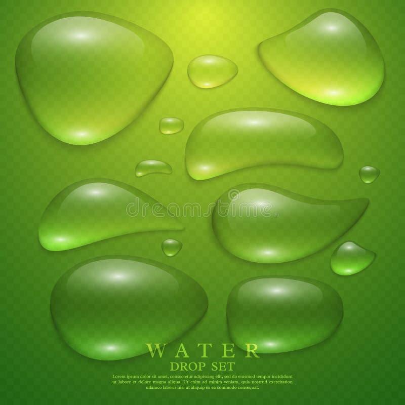 Gotas transparentes realísticas da água ajustadas ilustração royalty free