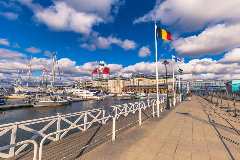 Goteburgo, Suecia - 14 de abril de 2017: Puerto de Goteburgo, Suecia fotos de archivo libres de regalías