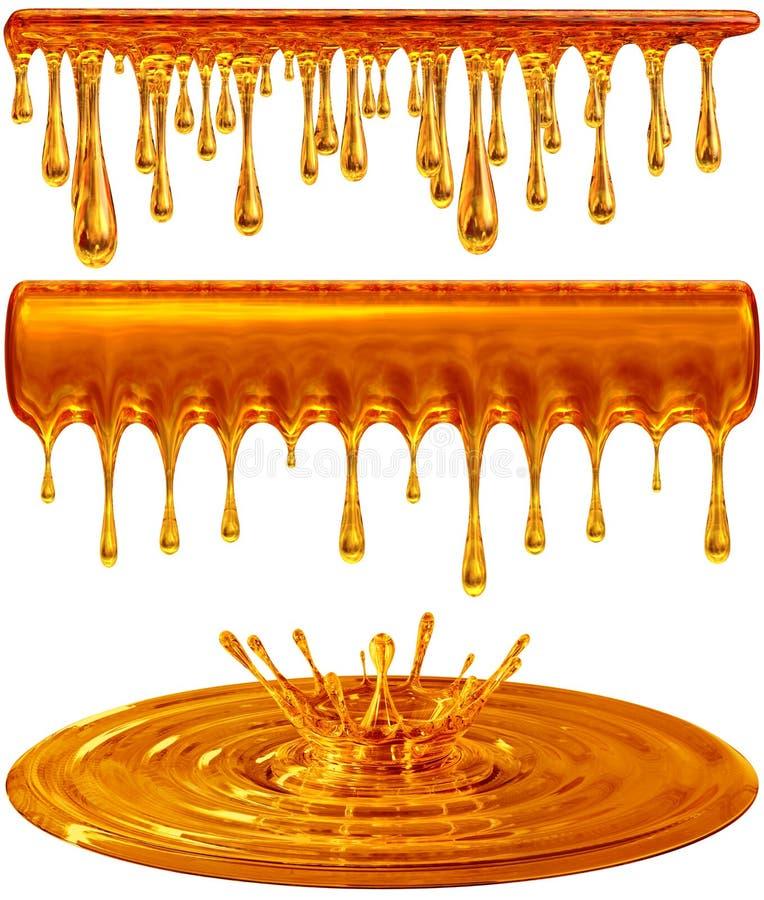 Gotejamento e mel ou caramelo dourado do respingo ilustração royalty free
