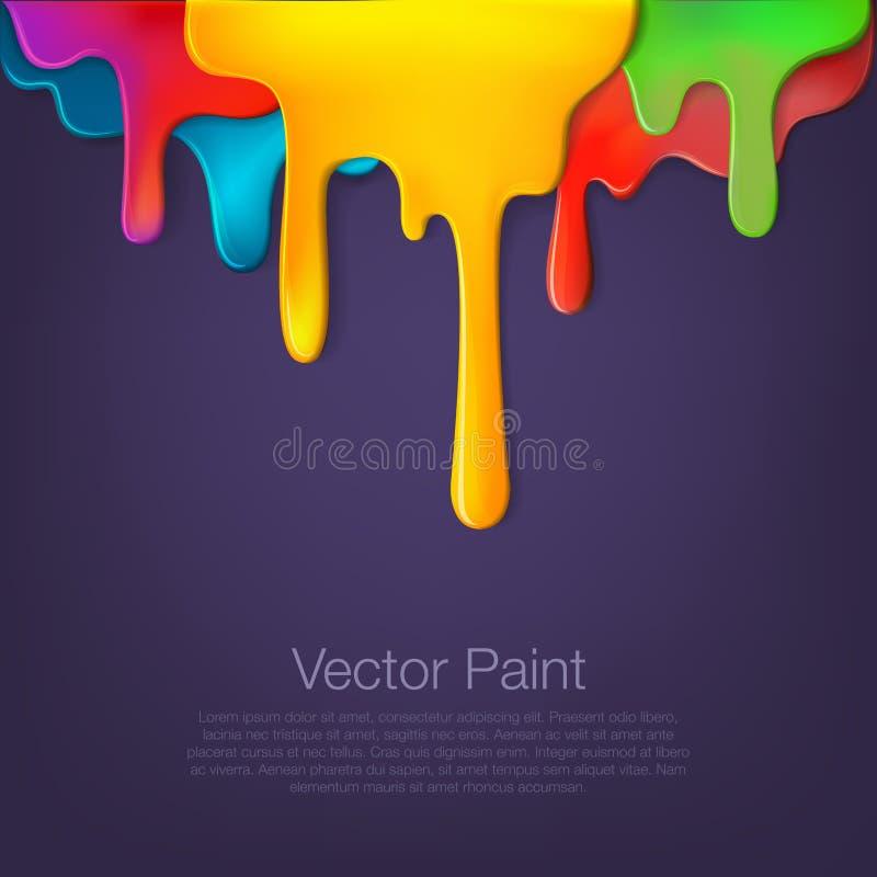 Gotejamento multicolorido da pintura no fundo ilustração do vetor
