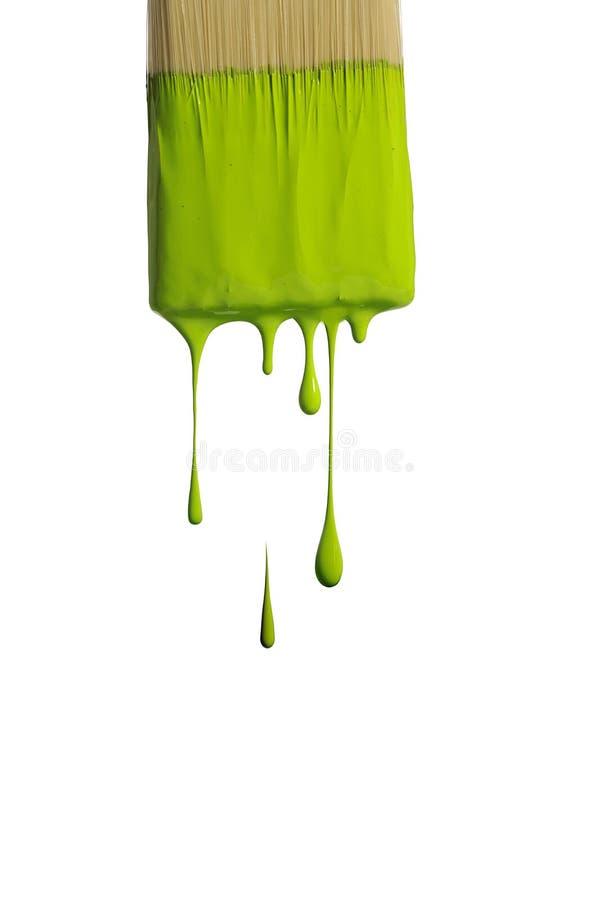 Gotejamento verde da pintura de uma escova foto de stock royalty free