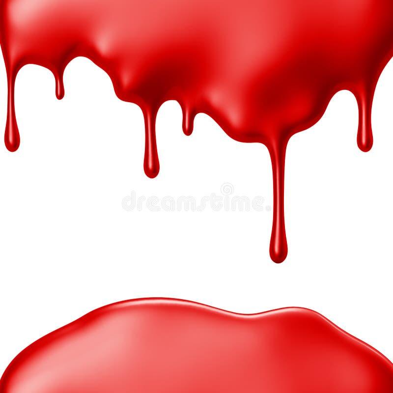 Gotejamento vermelho da pintura isolado sobre o fundo branco ilustração stock