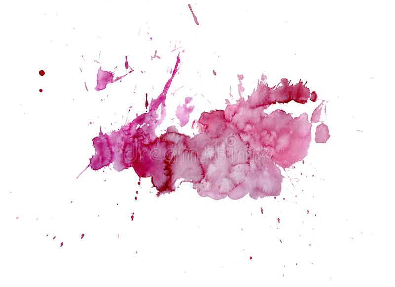 Gotejamentos brilhantes da mancha do rosa da aquarela Ilustração abstrata em um fundo branco foto de stock royalty free