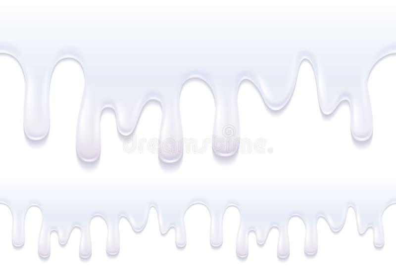 Gotejamentos do iogurte Fluxo branco do produto de leite ilustração stock
