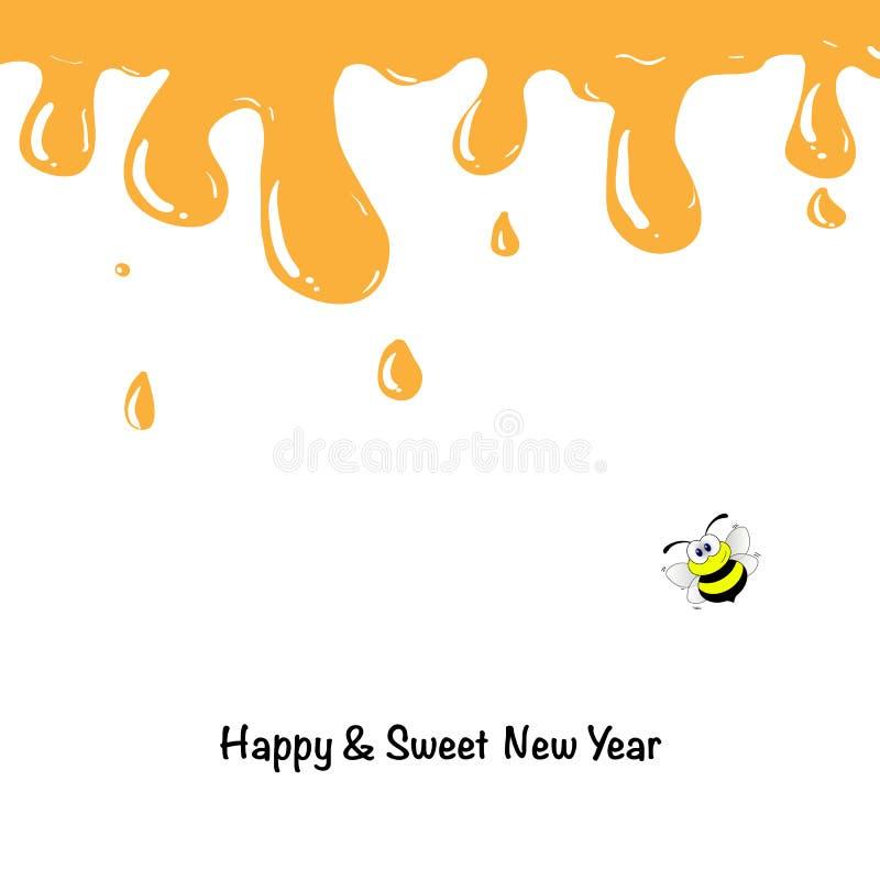 Gotejamentos do mel com Shana Tova Greetings ilustração stock