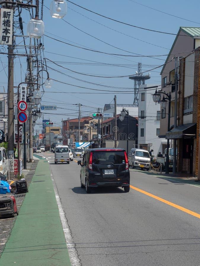 Gotenba-shi, rue de Shizuoka-ken dans Gotemba, Japon image stock