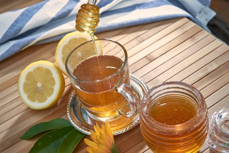 goteo de la miel de una cuchara de la miel sobre un vidrio de té fotografía de archivo libre de regalías