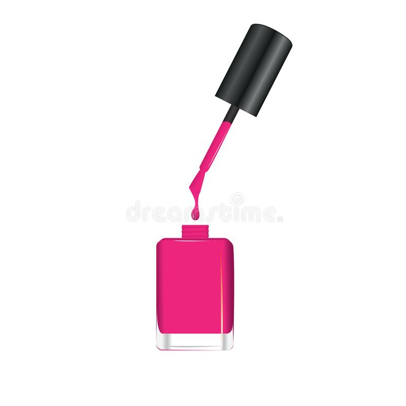 Goteo del esmalte de uñas del cepillo en la botella ilustración del vector