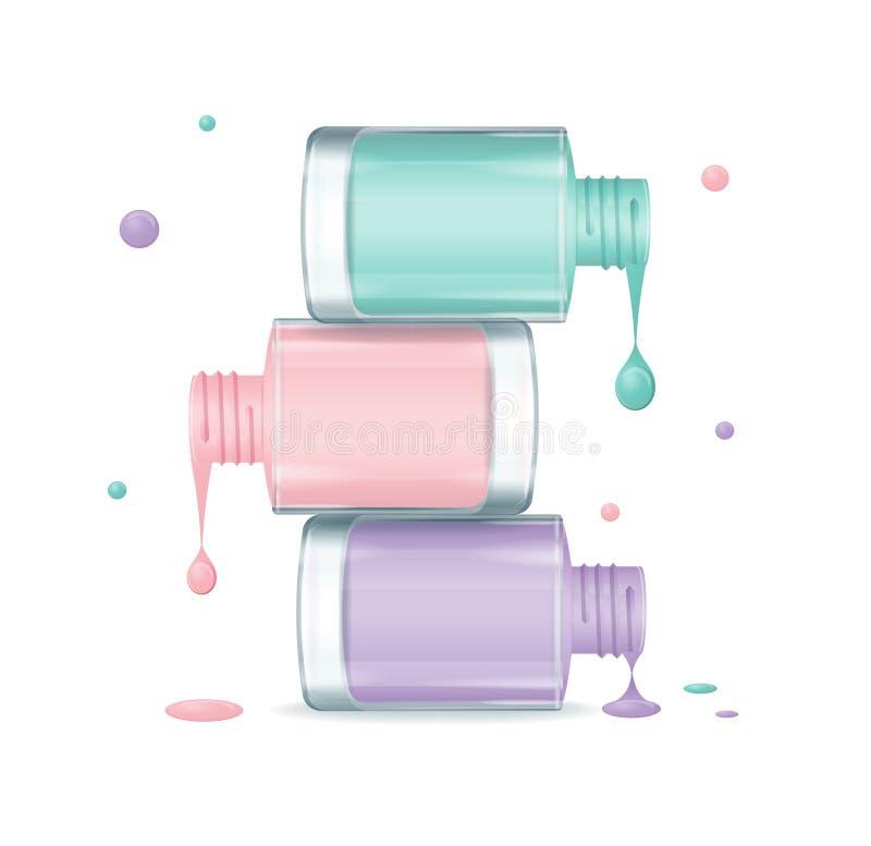 Goteo determinado del esmalte de uñas colorido Vector stock de ilustración