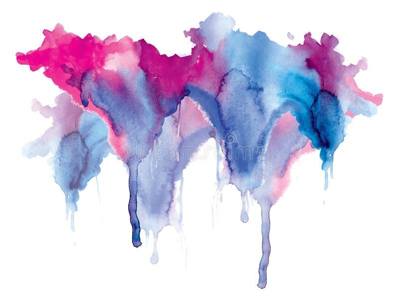 Goteos azul-rojos de la mancha de la acuarela brillante Ejemplo abstracto en un fondo blanco Bandera para el texto, elemento del  stock de ilustración