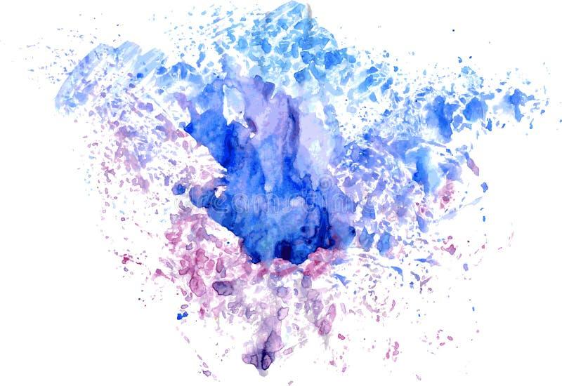 Goteos azul-rojos de la mancha de la acuarela brillante Ejemplo abstracto en un fondo blanco Vector stock de ilustración