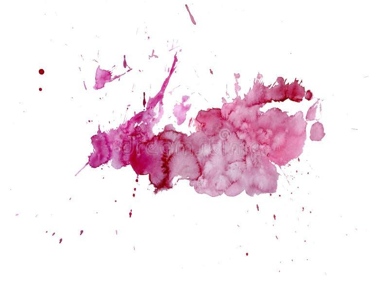 Goteos brillantes de la mancha del rosa de la acuarela Ejemplo abstracto en un fondo blanco foto de archivo libre de regalías