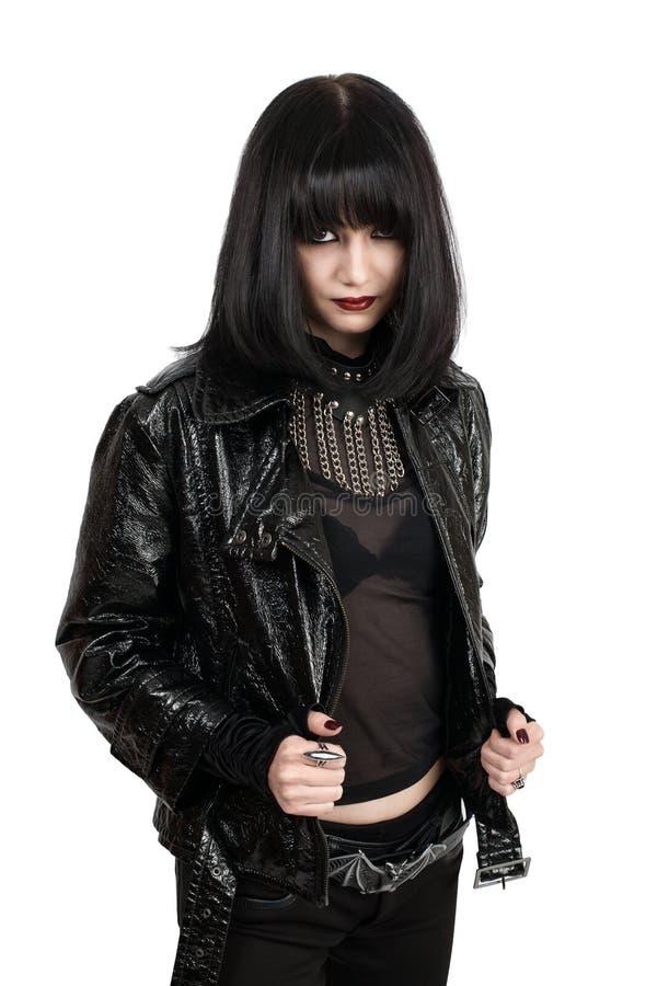 年轻goth妇女画象  库存图片