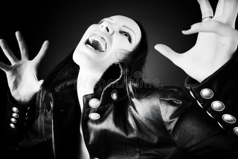 goth恐怖纵向妇女 库存照片