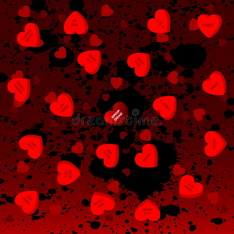 Download Goth candy hearts stock vector. Image of background, terror - 3983296