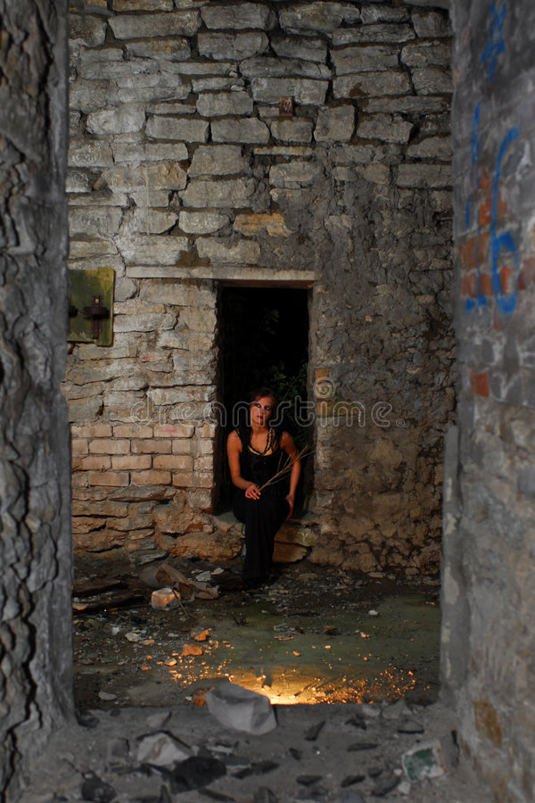Goth Girl In Abandoned Home Royalty Free Stock Photos