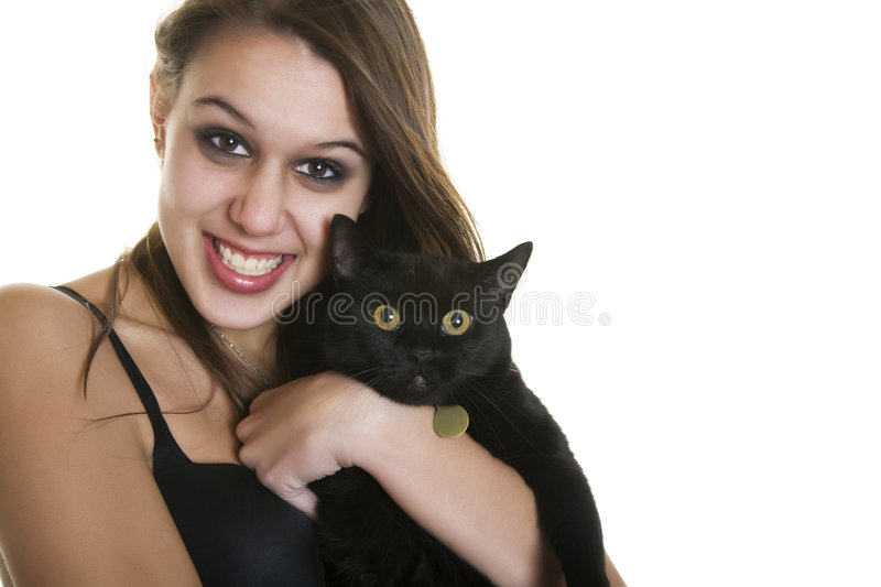 Download Goth Girl & Black Cat stock photo. Image of background - 7127428