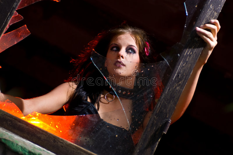 Goth Girl And Broken Glass Royalty Free Stock Photo