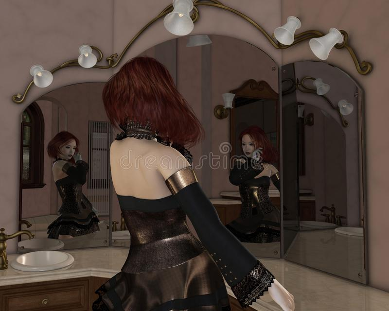 Download Goth Girl in the Mirrors stock illustration. Illustration of beautiful - 32679750