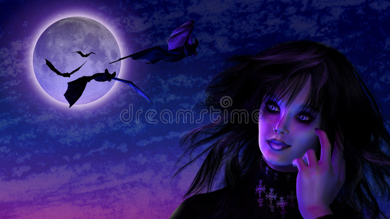 Goth Girl in Moonlight with Bats stock illustration