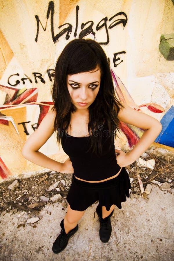 Goth Mädchenaufstellung stockfotos