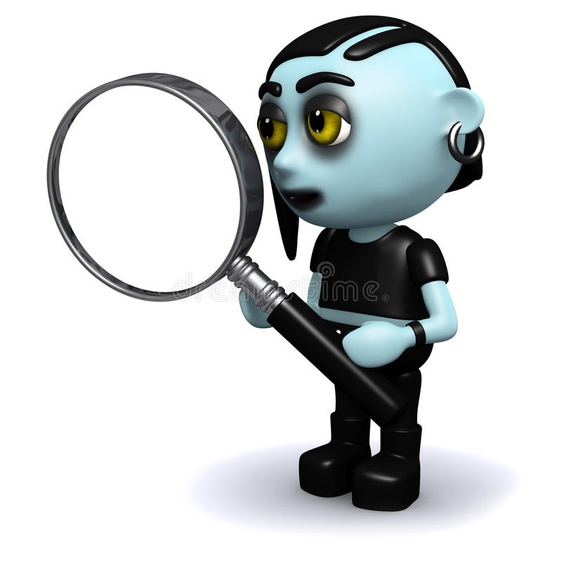 goth punky 3d con una lupa stock de ilustración