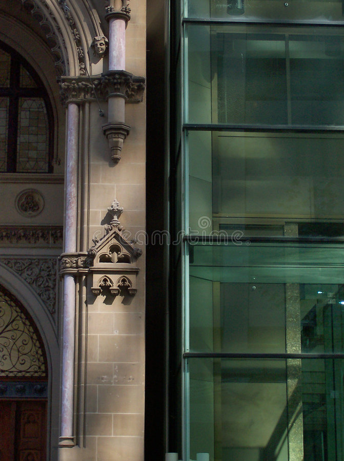 Goth Vs Mod. An amazing contrast between the old and new architecture in Melbourne's Banking district, Collins St royalty free stock image
