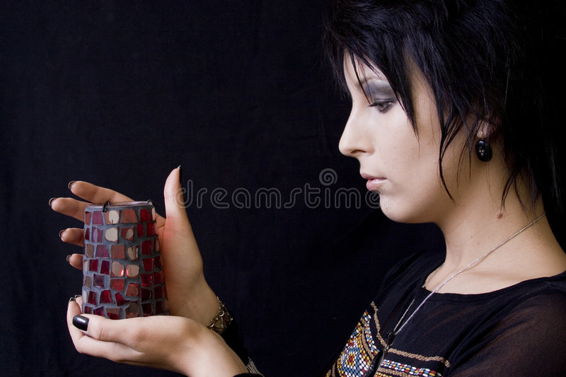 Download Goth Woman with Candle stock photo. Image of eyes, gazes - 1849158