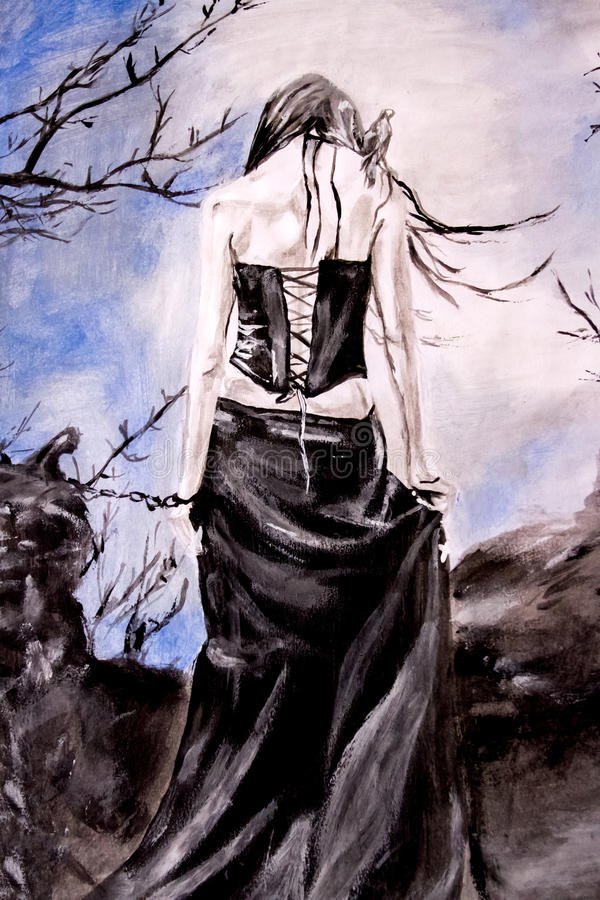 Goth woman in chains stock illustration
