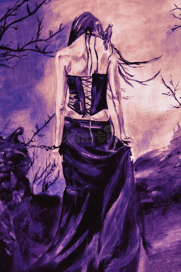 Goth woman in chains. Hand drawn back view of a lonely and mysterious woman standing outdoor in long violet dress