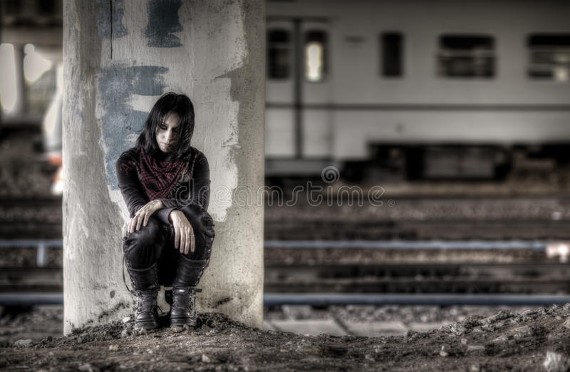 Download Goth woman at the column stock photo. Image of exterior - 11008124