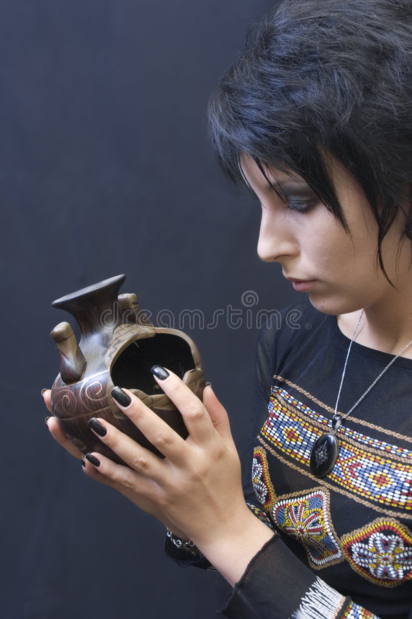 Goth Woman With Pagan Object Stock Photos