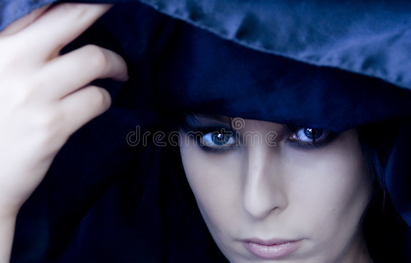 Goth Woman Under Black Scarf Stock Images