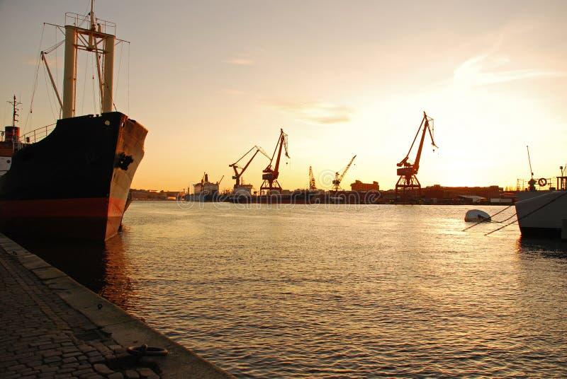 Gothenburg harbor, Sweden. Sunset stock photo
