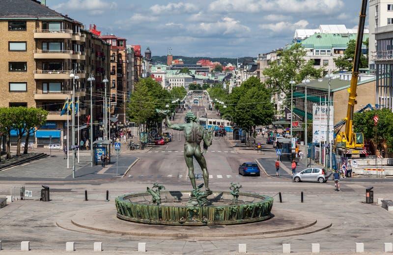 Gothenburg Poseidon Fountain stock photos