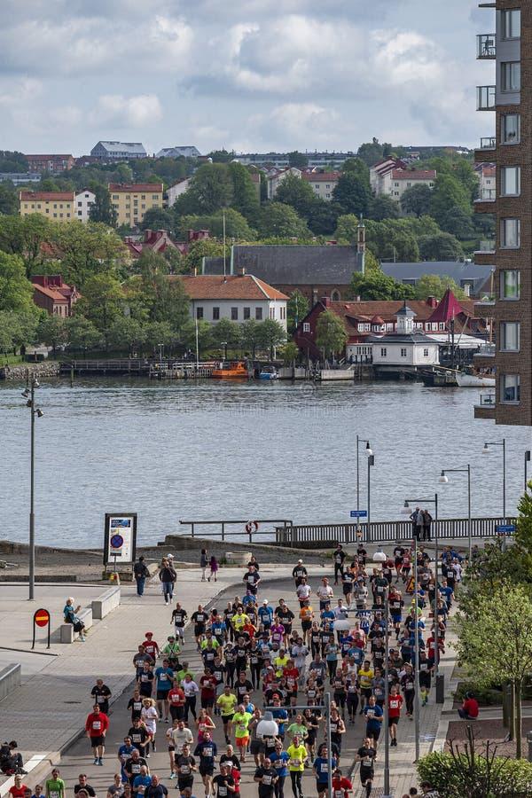 Gothenburg, Su?cia - 18 de maio de 2019 meia maratona de Gothenburg imagem de stock
