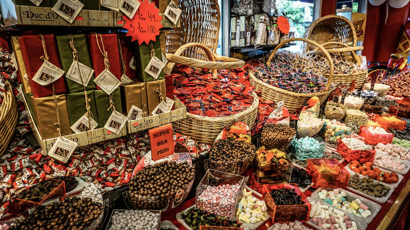 GOTHENBURG, SWEDEN - June 13, 2016: Candy shop with a wide variety of goodies in the city center. royalty free stock images