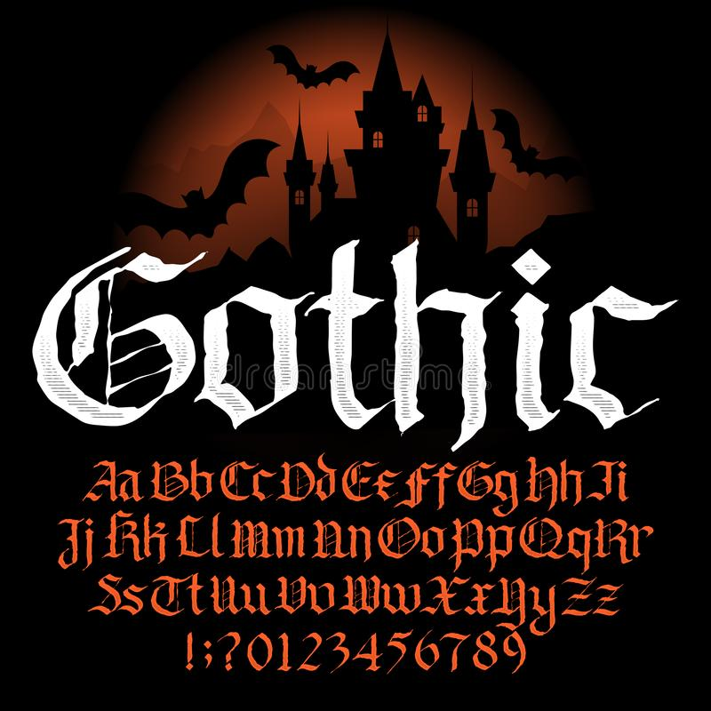 Gothic alphabet font. Hand drawn uppercase and lowercase letters and numbers. Vector typography for your design royalty free illustration