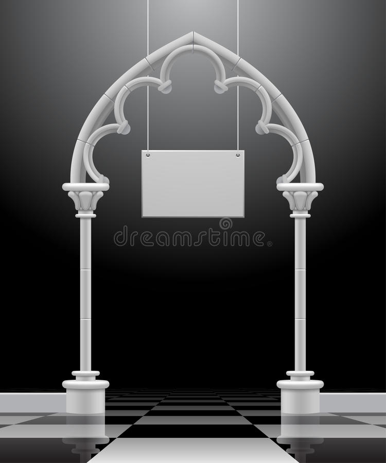 Download Gothic Arch With A Suspended Signboard Stock Vector