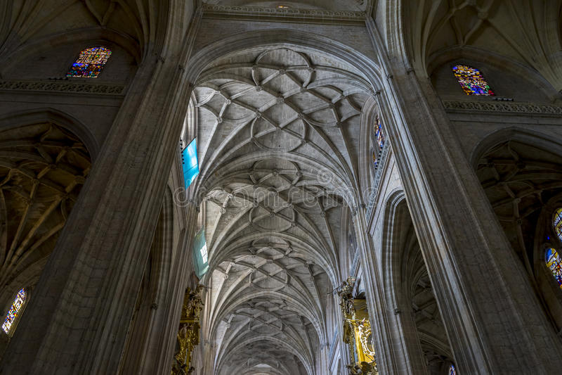Download Gothic Arches Of Christian Church Interior City Segovia Fam Stock Image