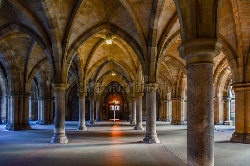 Gothic Arches in University of Glasgow, Scotland royalty free stock photo