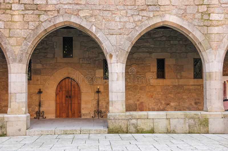 Gothic arches. Palace of the Duques of Braganca. Guimaraes. Portugal royalty free stock photos